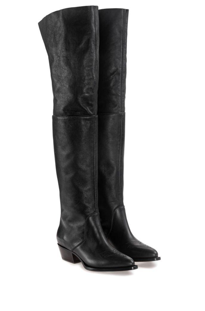 Stivali sopra il ginocchio in pelle di vitello con zip a contrasto