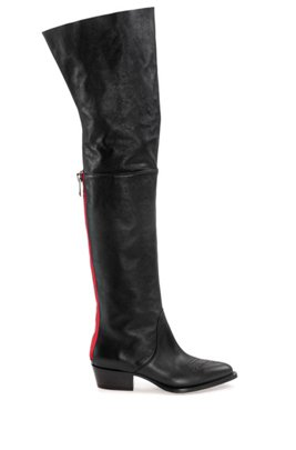 Over-the-knee calf-leather boots with contrast zip detail, ブラック