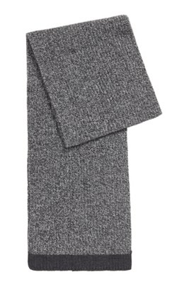 Structured-knit scarf in mouliné yarns, Silver