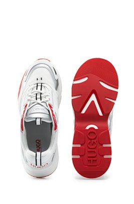Lace-up trainers in mixed materials with branded sole, White