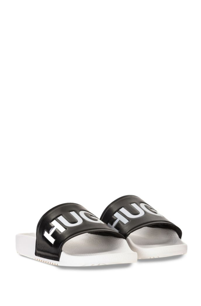 Logo slides with contoured footbed