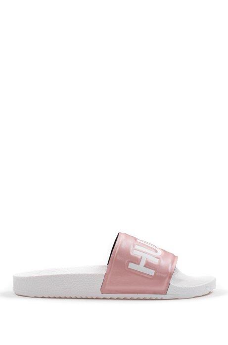 Logo slides with contoured footbed, light pink