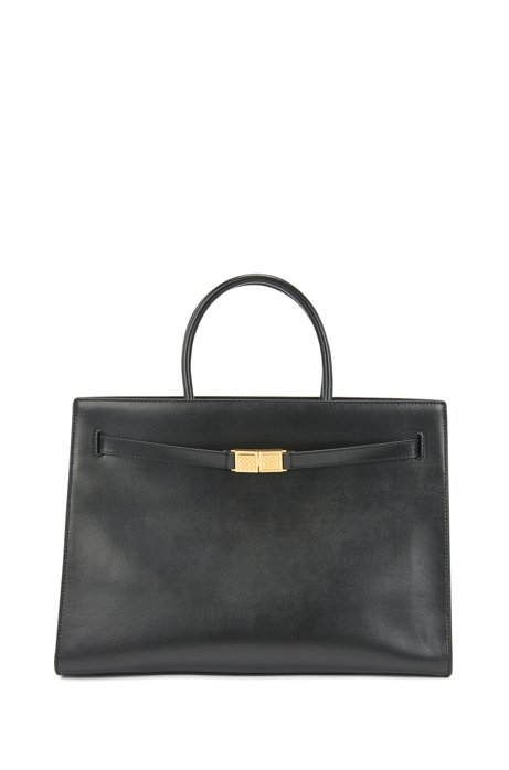 Tote bag in semi-structured leather with monogram hardware, Black