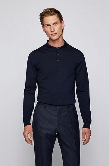 意大利羊毛 Polo 领毛衣,  402_Dark Blue