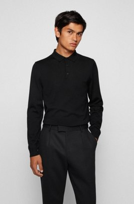 Polo-collar sweater in virgin wool with embroidered logo, Black