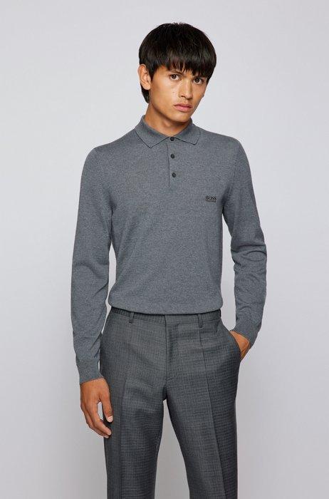 Logo polo shirt in Italian virgin wool, Grey