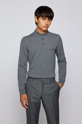 Polo-collar sweater in virgin wool with embroidered logo, Grey