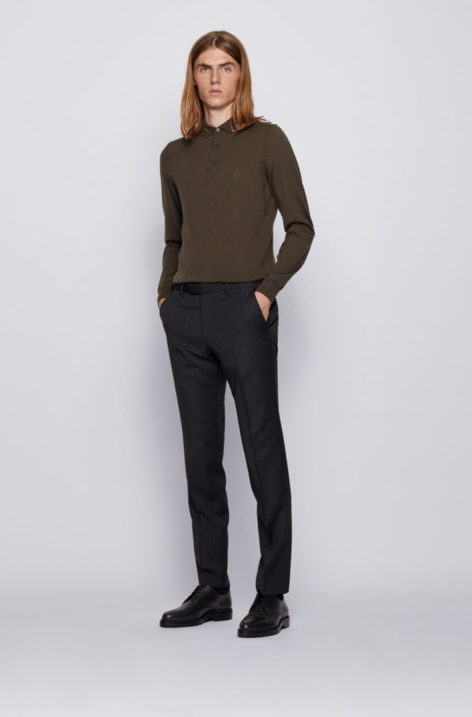 Polo-collar sweater in virgin wool with embroidered logo