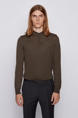 Polo-collar sweater in virgin wool with embroidered logo, Light Green