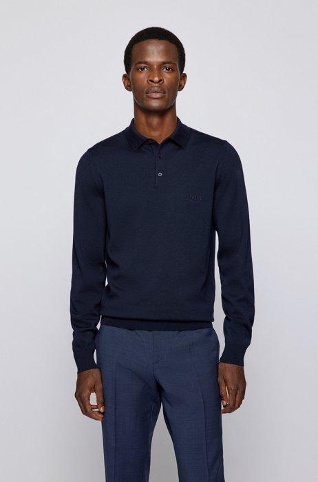 Logo polo shirt in Italian virgin wool, Dark Blue
