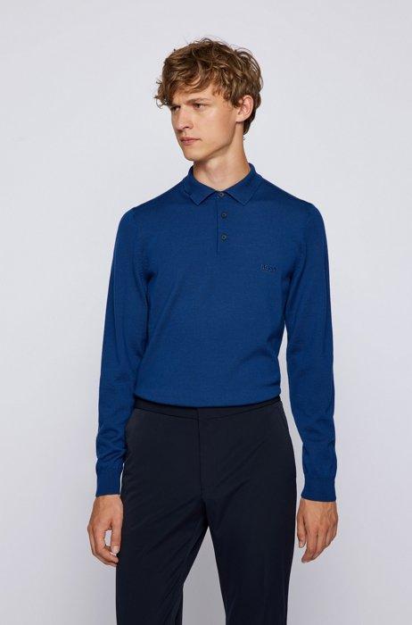 Logo polo shirt in Italian virgin wool, Blue