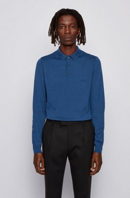 Polo-collar sweater in virgin wool with embroidered logo, Dark Blue