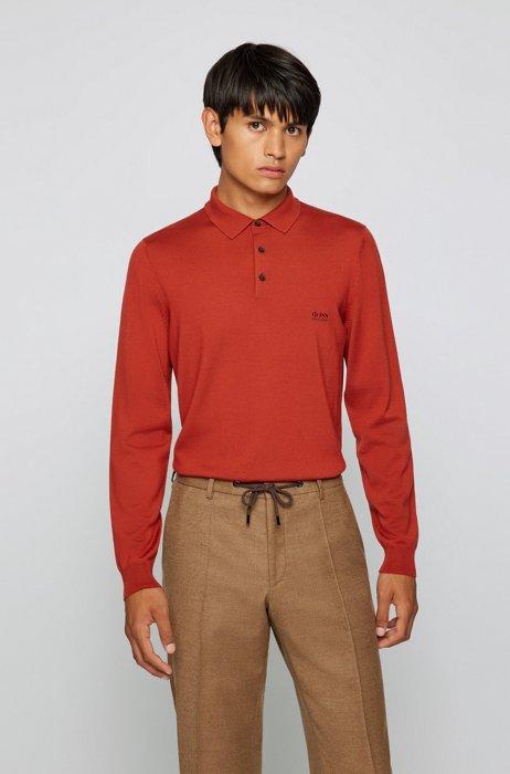 Logo polo shirt in Italian virgin wool, Red