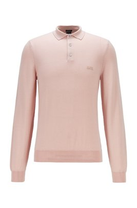 Polo-collar sweater in virgin wool with embroidered logo, light pink