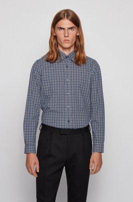 Kariertes Regular-Fit Hemd aus Baumwolle mit Button-Down-Kragen, Dunkelblau