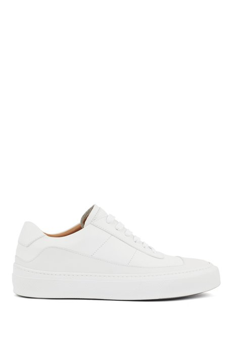 Italian-made trainers in polished leather with rubber sole, Natural