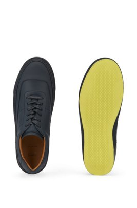 Italian-made trainers in polished leather with rubber sole, Dark Blue