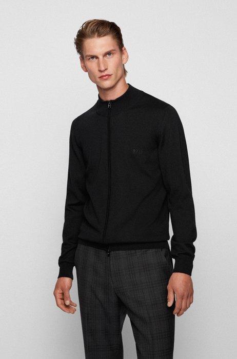Zipped cardigan in Italian virgin wool with embroidered logo, Black
