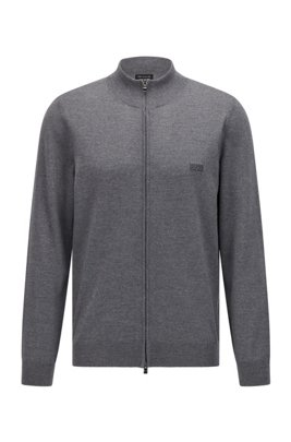 Zipped cardigan in Italian virgin wool with embroidered logo, Grey