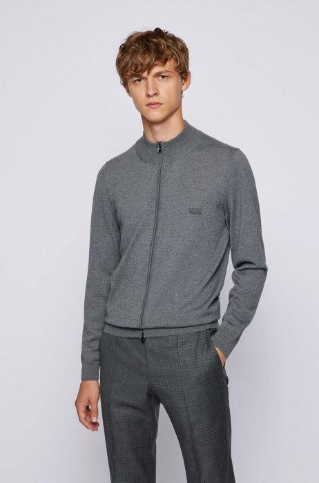 Zipped cardigan in Italian virgin wool with embroidered logo, Grey