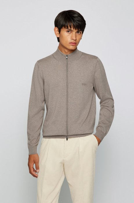 Zipped cardigan in Italian virgin wool with embroidered logo, Light Brown