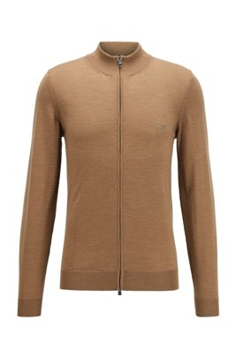 Zipped cardigan in Italian virgin wool with embroidered logo, Beige