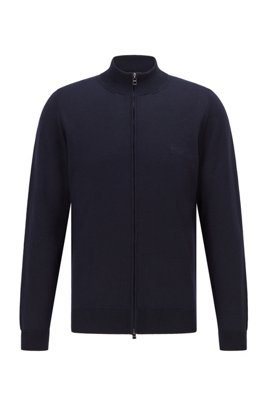 Zipped cardigan in Italian virgin wool with embroidered logo, Dark Blue