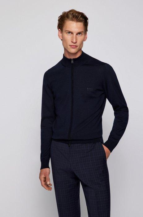 Zipped cardigan in Italian virgin wool with embroidered logo, Dark Blue