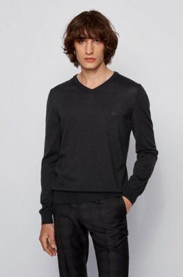 V-neck sweater in virgin wool with logo embroidery, Black