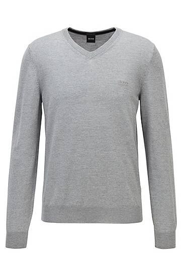 Pull à col v en laine vierge avec logo brodé