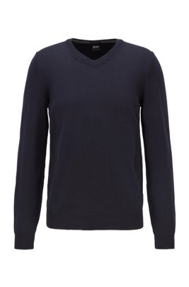 V-neck sweater in virgin wool with logo embroidery, Dark Blue