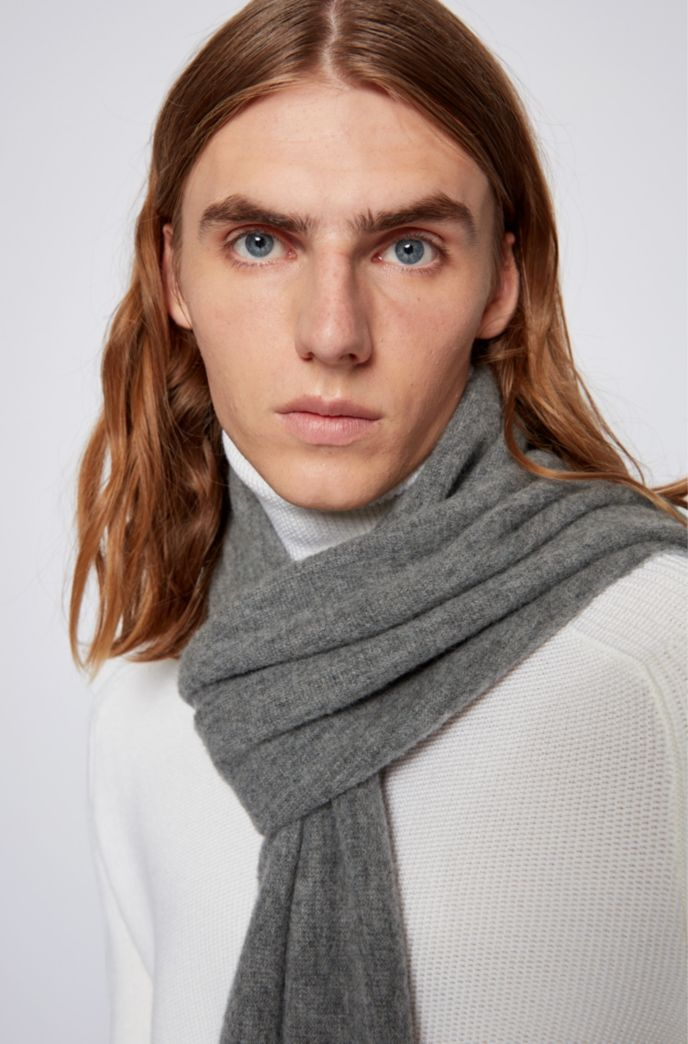 Oversized raschel-knitted scarf in a wool blend