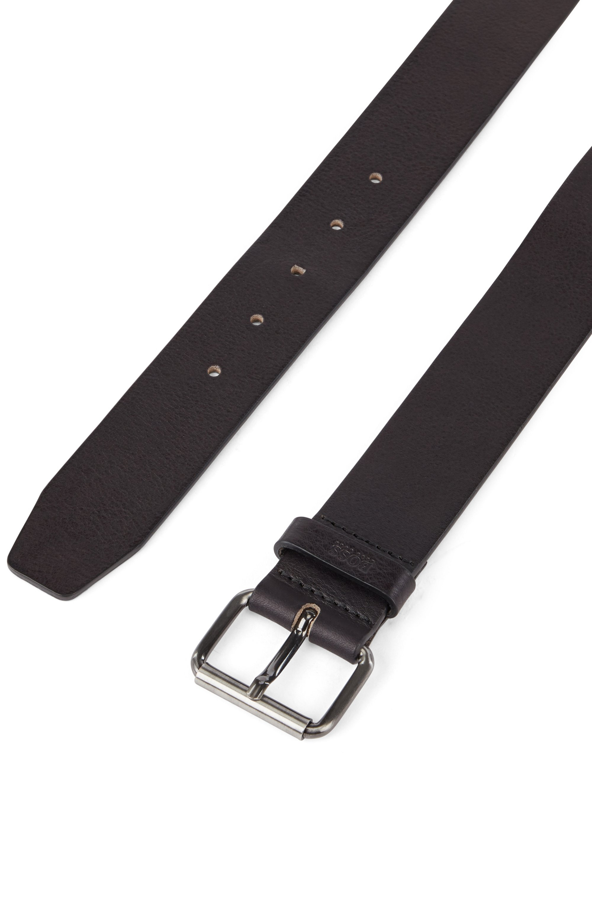 Tanned-leather belt with gunmetal roller buckle