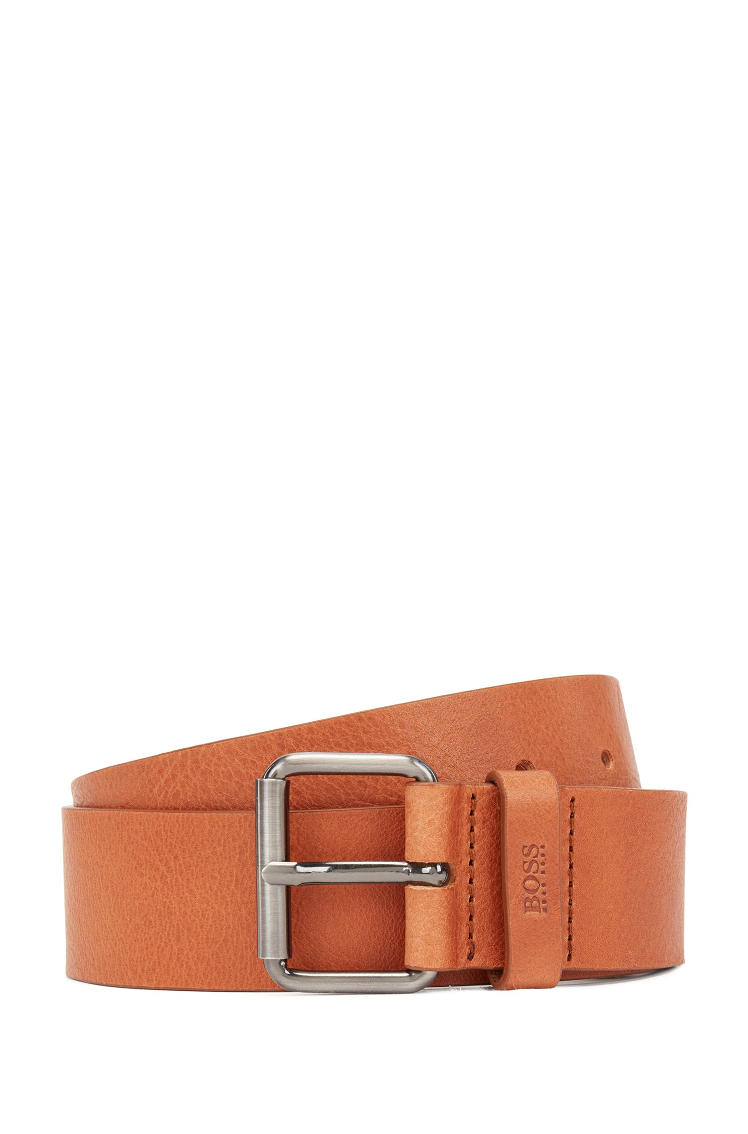 Tanned-leather belt with gunmetal roller buckle, Brown