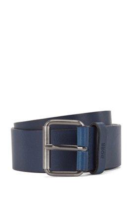 Tanned-leather belt with gunmetal roller buckle, Dark Blue