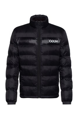 Water-repellent padded jacket with reversed-logo print, Black