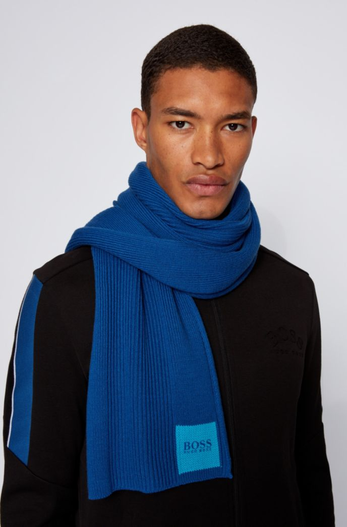 Logo-printed scarf in ribbed cotton and wool
