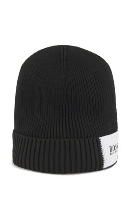 Colour-block ribbed beanie hat in cotton with wool, Black