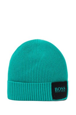 Colour-block ribbed beanie hat in cotton with wool, Green