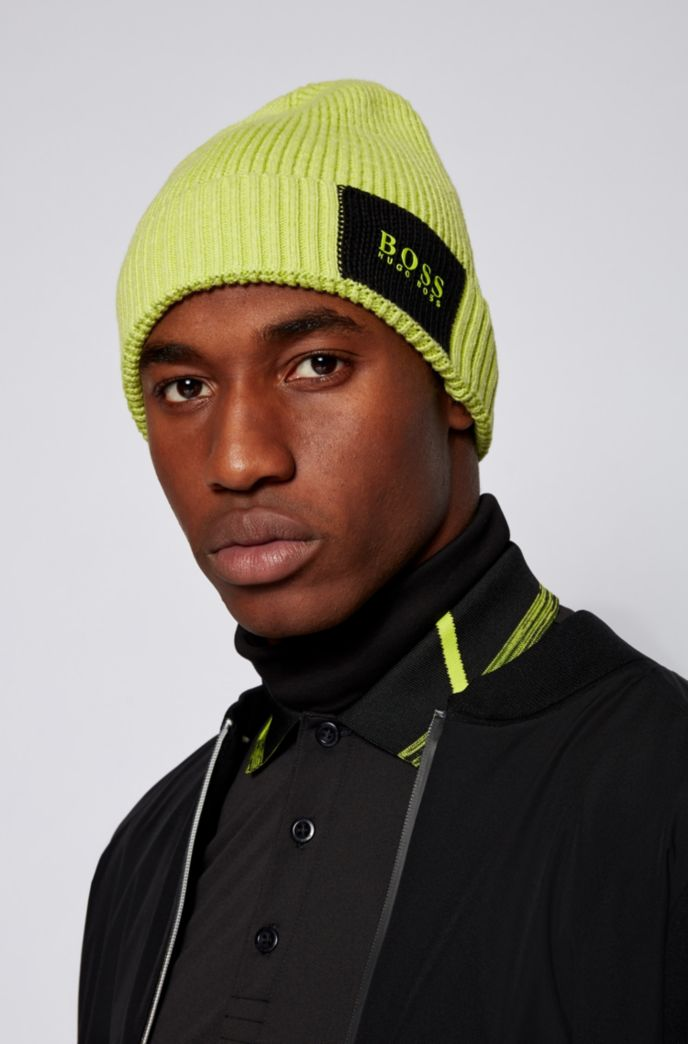 Colour-block ribbed beanie hat in cotton with wool