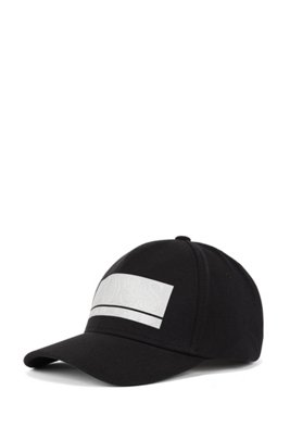 Stretch-fabric cap with raised logo print, Black