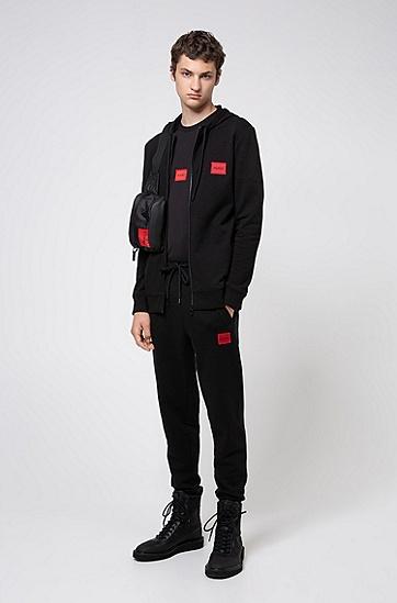 法国棉质毛圈布平纹单面针织长裤,  001_黑色