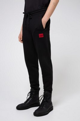 Jersey trousers in French terry cotton with logo label, Black