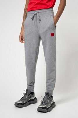 Jersey trousers in French terry cotton with logo label, Light Grey