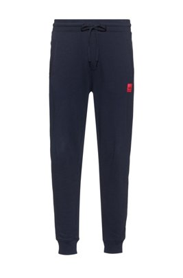 Jersey trousers in French terry cotton with logo label, Dark Blue