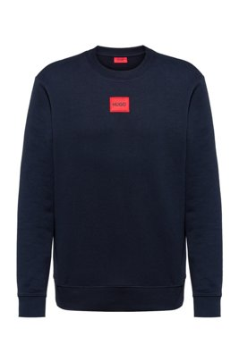 Crew-neck sweatshirt in French terry with logo label, Dark Blue