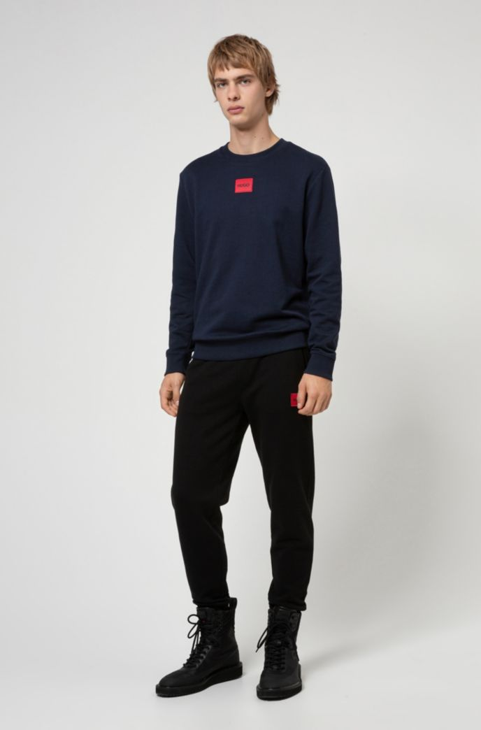 Crew-neck sweatshirt in French terry with logo label