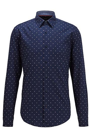 印花棉质修身版衬衫,  403_暗蓝色