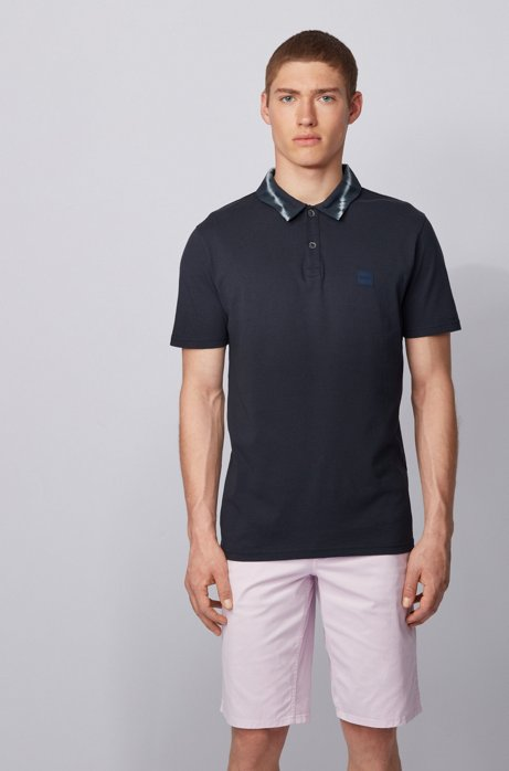 Garment-washed cotton polo shirt with tie-dye collar, Dark Blue