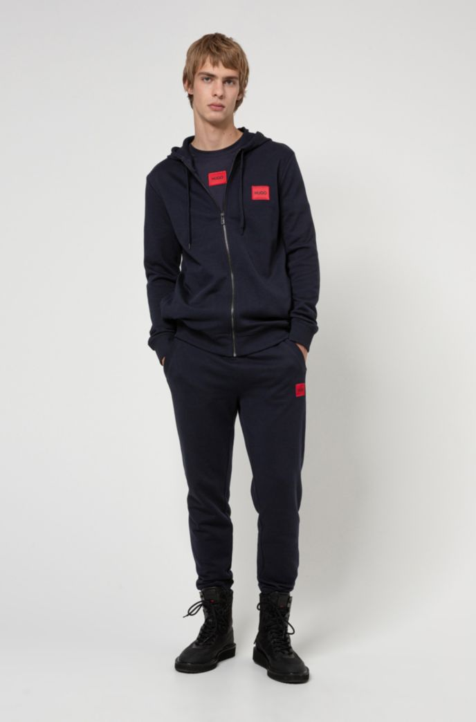 Zip-through hoodie in French terry with logo label